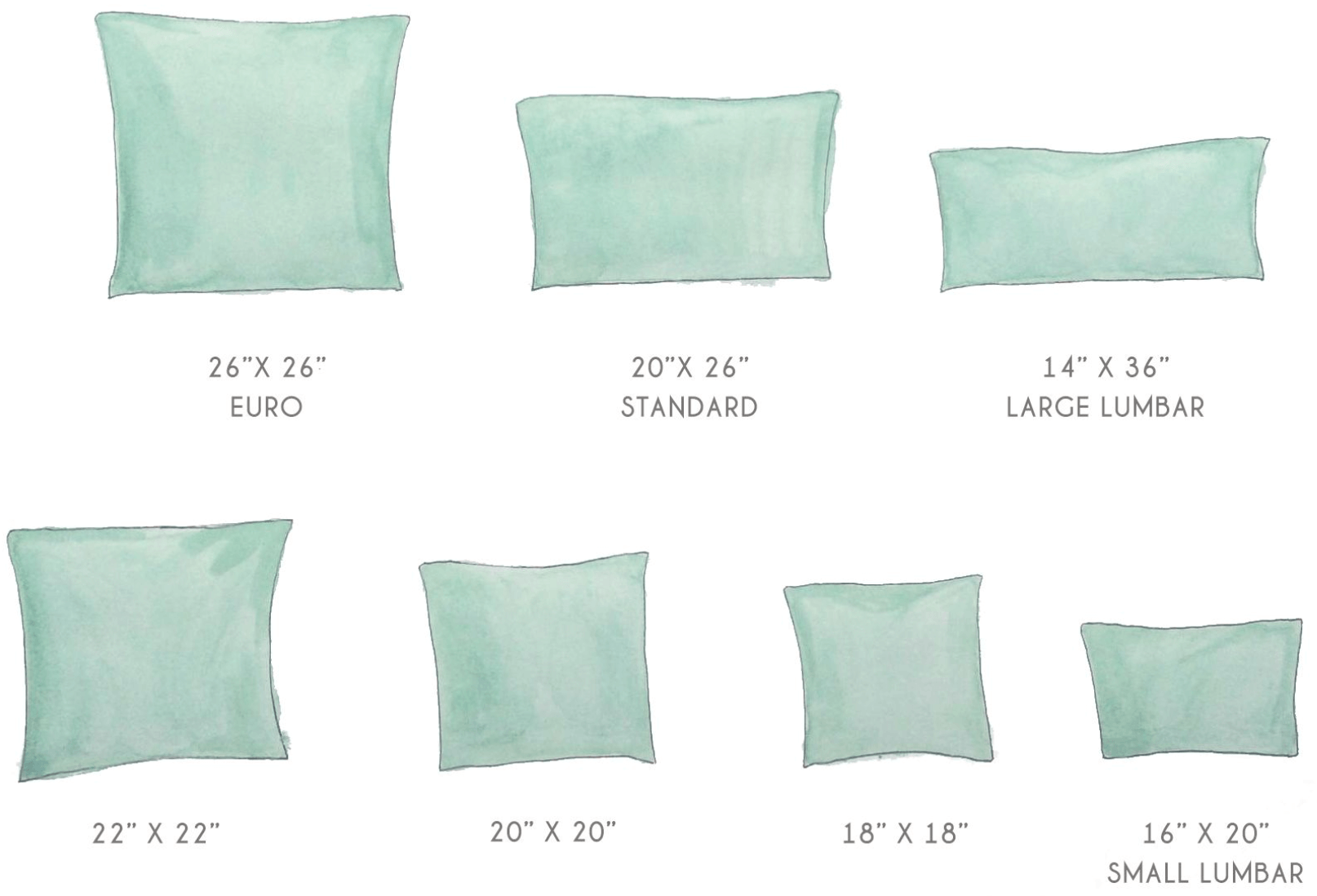 Standard Pillow And Pillowcase Size Chart Guide Updated 2020